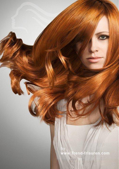 WELLA-Lange-Rot-weiblich-Gerade-Farbige-Glatte-Big-Hüpfburg-Volumen-Halten-Wellen-Party-Haar-Frauen-Frisuren